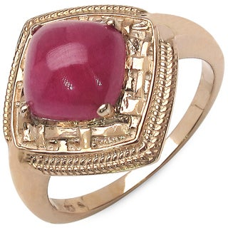 Malaika 14k Rose Gold Over Silver 3 1/6ct TGW Genuine Ruby Ring