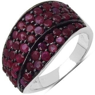 Malaika Sterling Silver 2 2/5ct TGW Genuine Ruby Ring