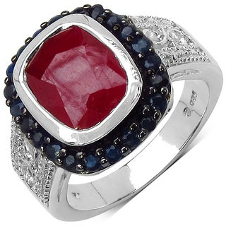 Malaika Sterling Silver 4 7/8ct TGW Genuine Ruby and Blue Sapphire Ring