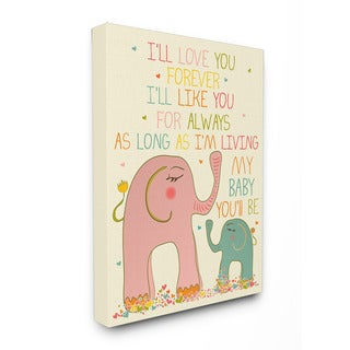 Stupell I'll Love You Forever Elephants Art 16-inch x 20-inch Canvas