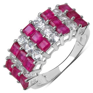 Malaika Sterling Silver 4 1/6ct TGW Genuine Ruby and White Topaz Ring