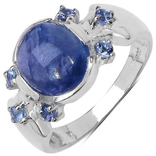 Malaika Sterling Silver 3 4/5ct TGW Genuine Tanzanite Ring