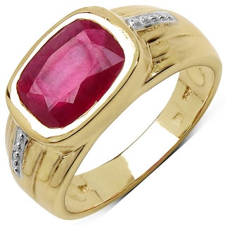 Malaika 14k Yellow Gold Over Silver 3 1/2ct TGW Genuine Ruby Ring