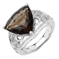 Malaika Sterling Silver 6 7/8ct TGW Genuine Smokey Quartz Ring