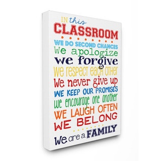 Stupell In This Classroom Rules Typography Art 16-inch x 20-inch Canvas