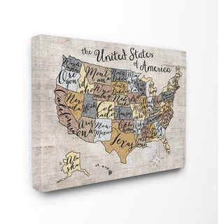 Stupell United States Map Typography Art 16-inch x 20-inch Canvas