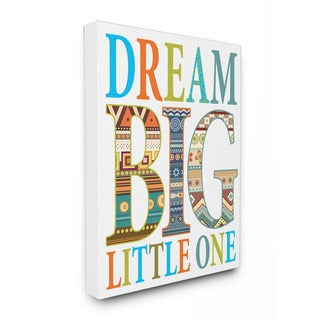 Stupell Dream Big Little One Boho Graphic Art 16-inch x 20-inch Canvas