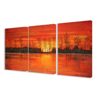 The Stupell Home Decor Collection Autumn Sunset 3-piece Triptych Canvas Art Set