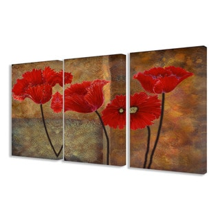 The Stupell Home Decor Collection Poppies on Spice 3-piece Triptych Canvas Art Set