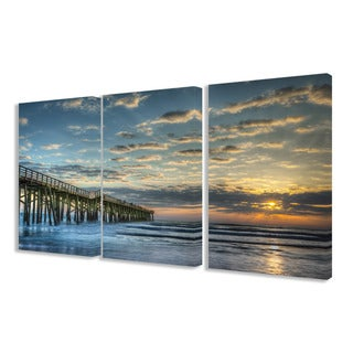 The Stupell Home Decor Collection Sunset on the Pier 3-piece Photographic Triptych Canvas Art Set