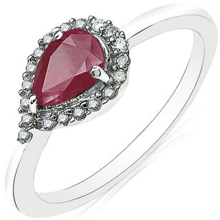 Olivia Leone 10k White Gold 7/8ct TGW Genuine Ruby and White Diamond Accent Ring