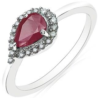 Olivia Leone 10k White Gold 7/8ct TGW Genuine Ruby and White Diamond Accent Ring