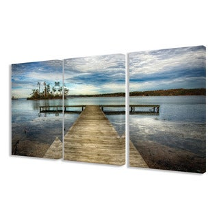 Stupell Dock Overlooking Island 3-piece Triptych Canvas Art Set