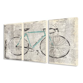 The Stupell Home Decor Collection Bicycle on Newsprint 3-piece Triptych Canvas Art Set