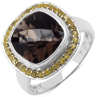 Olivia Leone Sterling Silver 3 3/4ct TGW Genuine Smokey Quartz and Yellow Diamond Ring