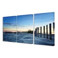 Stupell Sand Dune Fence at Sundown 3-piece Triptych Canvas Art Set
