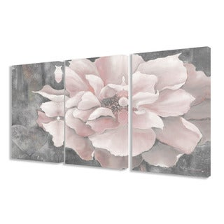 Stupell Pastel Pink Peony on Grey 3-piece 3-piece Triptych Canvas Art Set