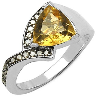Malaika Sterling Silver 1 5/8ct TGW Genuine Citrine and Champagne Diamond Accent Ring
