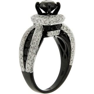 10k Black Rhodium-plated Gold 3 5/8ct TDW Black and White Diamond Ring