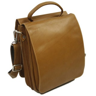 Piel Leather Double Flap-Over 11-inch Vertical Messenger Bag
