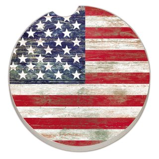 Counterart Absorbent Stone Car Americana Flag Coaster (Set of 2)
