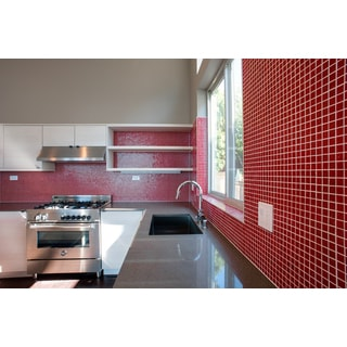 Solid Cherry Red Brio 3/4-inch Mosaic Tile