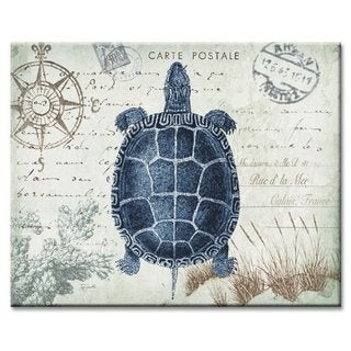 Counterart Glass Seaside Postcard Sea Turtle 12x15-inch Cutting Board