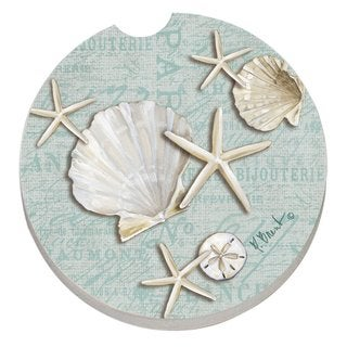 Counterart Absorbent Stone Car Linen Shells Seashells Coaster (Set of 2)