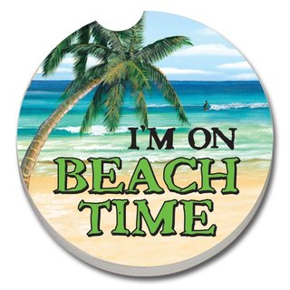 Counterart Absorbent Stone Car I'm On Beach Time Coaster (Set of 2)