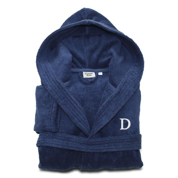 Sweet Kids Midnight Blue with White Monogram Turkish Cotton Hooded Terry  Bathrobe 73216f66b