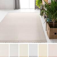 Hand-Woven Brix ham Solid Indoor Cotton Area Rug - 8' x 10'