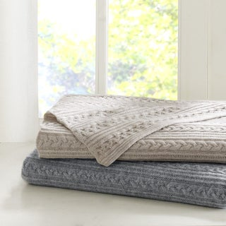 Madison Park Signature Cashmere Blend Cable Knit Throw