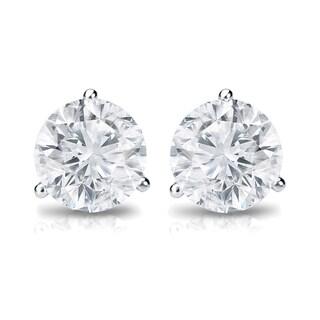 Auriya 18k Gold 1/2ct TDW 3-Prong Push-Back Round Diamond Stud Earrings (H-I, SI2-SI3)