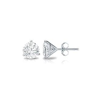 Auriya Platinum 1/4ct TDW 3-Prong Push-Back Round Diamond Stud Earrings (H-I, SI2-SI3)
