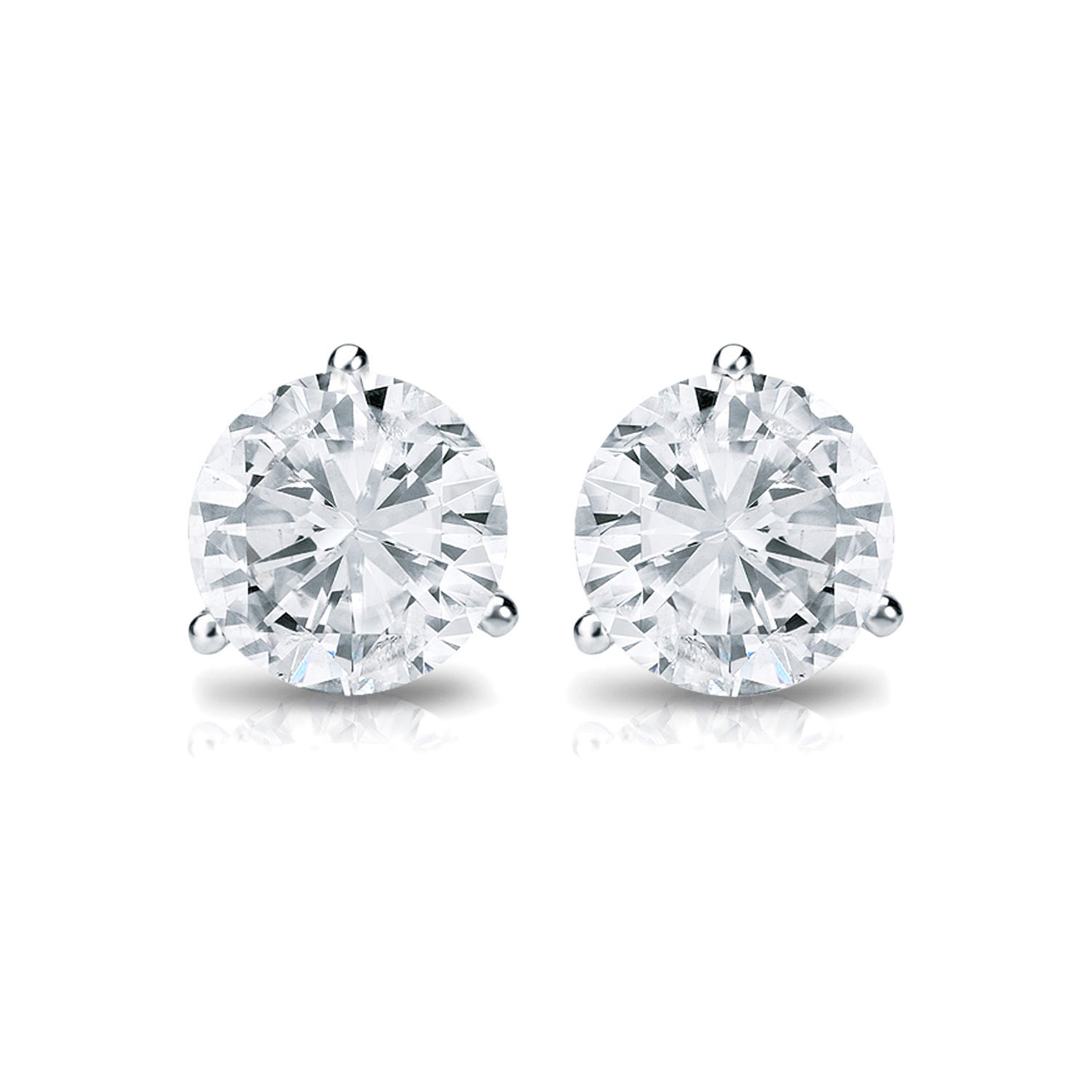 Details about Platinum Round 1 3ct TDW Three Prong Martini Diamond Stud  Earrings by Auriya - 3d4cdc683