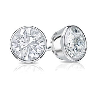 Auriya 14k Gold 3/4ct TDW Bezel Push-Back Round Diamond Stud Earrings