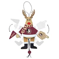Florida State Seminoles Wooden Cheering Reindeer Ornament