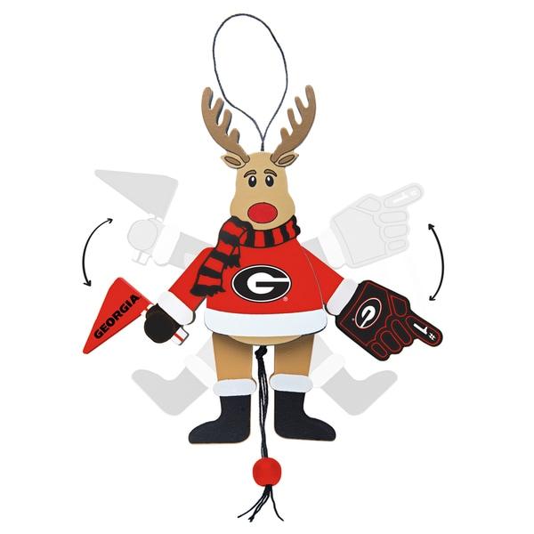 Georgia Bulldogs Wooden Cheering Reindeer Ornament