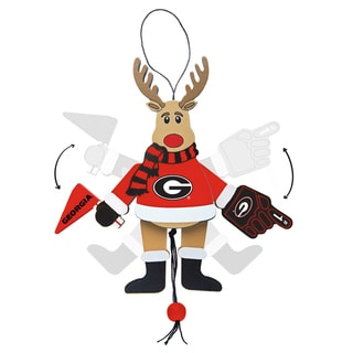 Georgia Bulldogs Wooden Cheering Reindeer Ornament