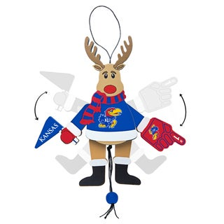 Kansas Jayhawks Wooden Cheering Reindeer Ornament