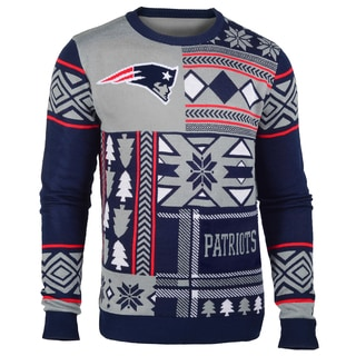 Forever Collectibles New England Patriots Big Logo Crew Neck Ugly Sweater