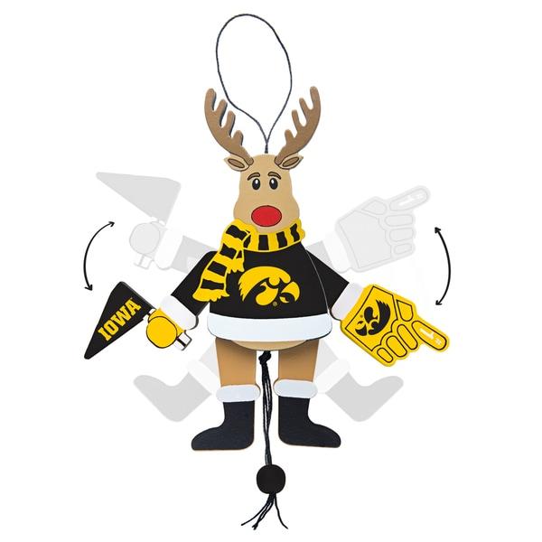 Iowa Hawkeyes Wooden Cheering Reindeer Ornament