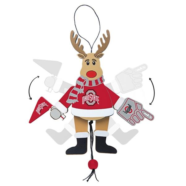 Ohio State Buckeyes Wooden Cheering Reindeer Ornament