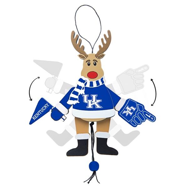 Kentucky Wildcats Wooden Cheering Reindeer Ornament
