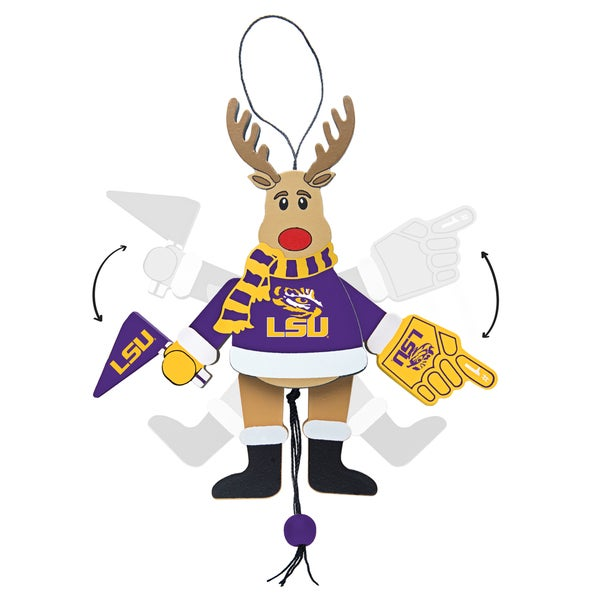 LSU Tigers Wooden Cheering Reindeer Ornament
