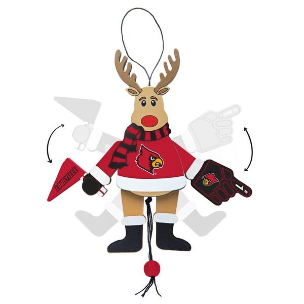 Louisville Cardinals Wooden Cheering Reindeer Ornament