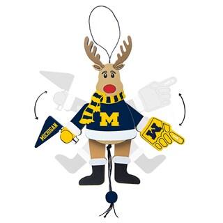 Michigan Wolverines Wooden Cheering Reindeer Ornament
