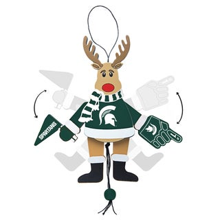 Michigan State Spartans Wooden Cheering Reindeer Ornament