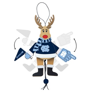 North Carolina Tar Heels Wooden Cheering Reindeer Ornament