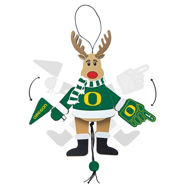Oregon Ducks Wooden Cheering Reindeer Ornament